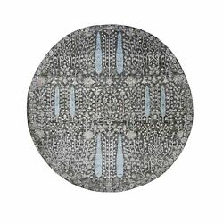 7and0391x7and0391 Round Cypress Tree Design Silk With Textured Wool Oriental Rug R48944