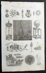 1798 William Henry Hall Antique Scientific Print Of Diving Bell And Hydro Machines