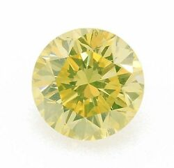 0.51 Carat Fancy Greenish Yellow Diamond Gia Certified Loose Natural Color Round