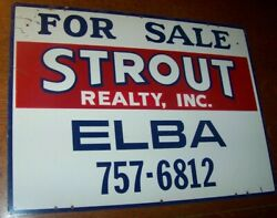 C1979 Vintage Bloomfield Ny Strout Realty Real Estate Metal Tin Sign Holcomb