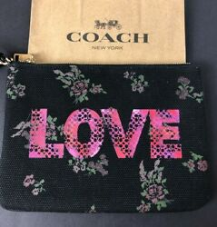Coach LOVE Gallery Pouch Bag Canvas Black with Floral Design 91534 $178 New