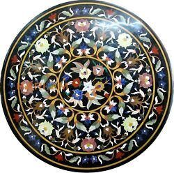 42 Round Multi Floral Marble Dining Table Top Inlay Semi Precious Decor B377