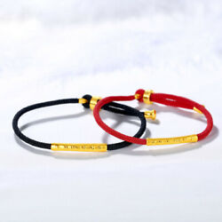 Pure 24k Yellow Gold 3d Craft Blessing Tube With Cord Lucky Bracelet Red/black