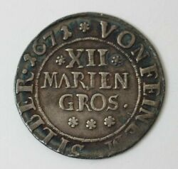 1671 Germany/osnabruck Silver 1/3 Thaler Circulated Coin 86934jr