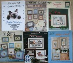 6 Cross Stitch Charts and Magazines With CATS Siamese Vintage