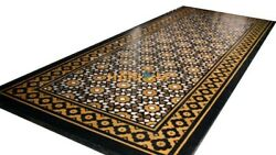 5and039x3and039 Black Marble Dining Table Top Semi Precious Inlay Design Decor Garden B029