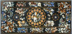28and039and039x53and039and039 Multi Marquetry Marble Corner Dining Table Top Inlay Garden Decor B053