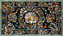 35and039and039x50and039and039 Black Marble Dining Table Top Bird With Floral Inlay Patio Decor B056