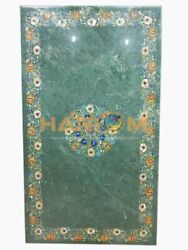 26and039and039x52and039and039 Green Marble Dining Table Top Multi Marquetry Inlay Hallway Decor B202