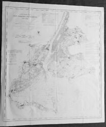 1861 Us Survey Large Antique Civil War Map Of New York City And Surrounding Areas