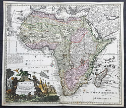 1730 Georg Mattraus Seutter Large Antique Map Of Africa Beautiful Hand Colour