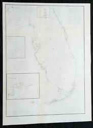 1855 Us Coast Survey And A D Bache Large Rare Antique Map Of Florida United States