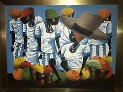 Haitian Or Jamaican Folk Art Original Acrylic Painting Signed Romain Women Fruit