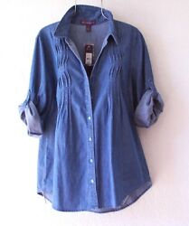 New~Denim Blue Shirt Blouse Button Jeans Spring Boho Top~Size Small