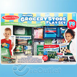 Melissa And Doug Deluxe 73 Piece Fresh Mart Customer Clerk Grocery Store Play Set