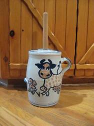 Louisville Stoneware Polka Dot Cow Butter Churn W/lid And Wooden Dasher