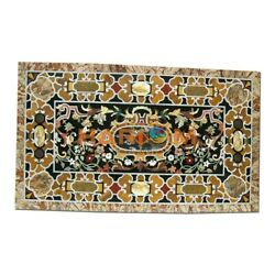 28and039and039x55and039and039 Black Marble Table Dinner Top Scagliola Home Inlay Interior Decor B348