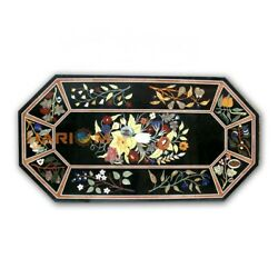 26and039and039x52and039and039 Black Marble Multi Floral Dining Table Inlaid Top Kitchen Decor B351
