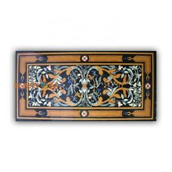 32and039and039x55and039and039 Black Marble Dining Table Pietradura Top Inlay Kitchen Home Decor B411