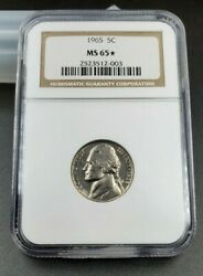 1965 P Jefferson Nickel Coin Ngc Ms65 Brown Label Star Struck With Sms Die