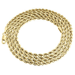 14k Yellow Gold 3mm Solid Diamond Cut Rope Chain Link Necklace 16 - 30 Inches