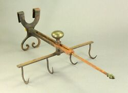 Antique C.1800 Rare American Wrought Iron And Brass Roaster Game Hooks Poultry