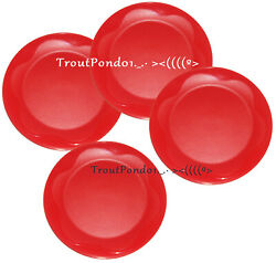 Tupperware Open House Round Plates Watermelon Red 8 Inch Salad Snack Set Of 4