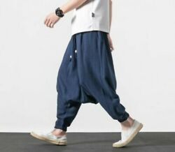 Summer Menand039s Loose Fit Saggy Harem Pants Trousers Linen Chinese Style Leisure