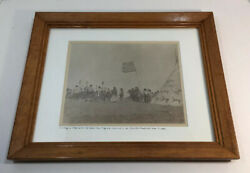 Copy Of Antique 1900 Native American Photo 45 Star Flag Teepee Framed 13 X 16