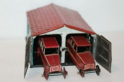 Vintage 1920's Tin Penny Toy Garage With Two Limousine Cars Made In Germany