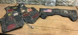 Mens Leather Motorcycle Vest Vintage Vietnam Vet Patches Harley Owners Group