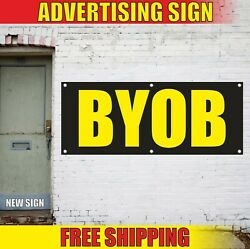 Byob Banner Advertising Vinyl Sign Flag Party Event No Alcohol Own Drink Open 24