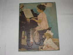 Vintage Cardboard Jigsaw Tray Puzzle Walzer Girl Playing Shirley Temple Doll