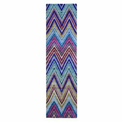 3and039x12and0393 Chevron Design Sari Silk And Textured Wool Hand Knotted Runner R49094