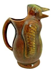 Vintage Brown Dripware Bird Pitcher - Mexican Pottery - 9.75 Tall