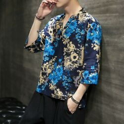 Men's Printing Floral Cotton T-shirts Tops Tee Loose Fit Pullover Beach Leisure
