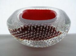 Small Mind Blowing Deco Modern Murano Glass Geode Bowl Ruby Red Archimede Seguso