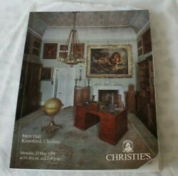 Christies Catalogue Mere Hall Kuutsford Cheshire Country House Art Antiques