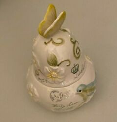 Mikasa Antique Countryside Porcelain Pear Trinket Box 6 High Butterfly