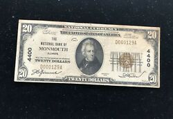 20 1929 Monmouth Illinois Il National Currency Bank Note Bill Ch. 4400 Rare