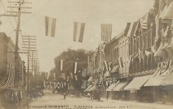 Owego Ny Firemenand039s Convention 1908 Antique Real Photo Postcard Rppc Us Flags