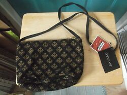 Nwt Gevive By Boyt Tapestry Brown And Green Canvas Shoulder Bag Cross Body Purse