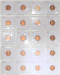 20 1949 Lincoln Wheat Cents Choice To Gem Red Bu
