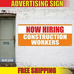 Construction Workers Banner Advertising Vinyl Sign Flag Now Hiring Recruitment