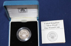 1986 United Kingdom One Pound Silver Proof Royal Mint Andpound1 Coin And Case E4017