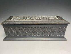 Antique Arts And Crafts Hand Carved Wood Glove Box