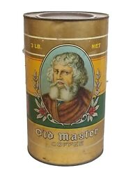 Vintage Old Master Brand Advertising Coffee Tin 3 Lb Size Great Graphics 9 1/2