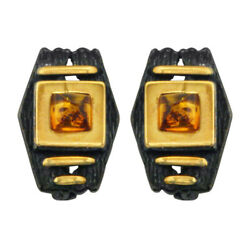 Amber Earrings Black Rhodium Original Design Special Gift Sold By 100 Pcs