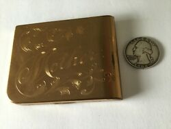Vtg Mother Etching Elgin American Powder Gold Tone Compact Puff Vanity Used Vg+