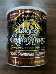 Vintage/antique Mountain Grown Folgers Tin Metal Coffee Can W/ Lid Coffee House